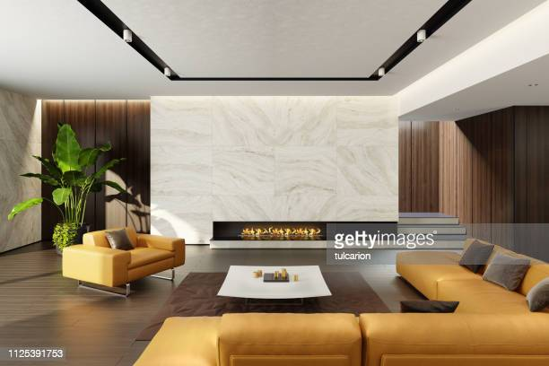 modern minimalist living room with eco fireplace - camino foto e immagini stock