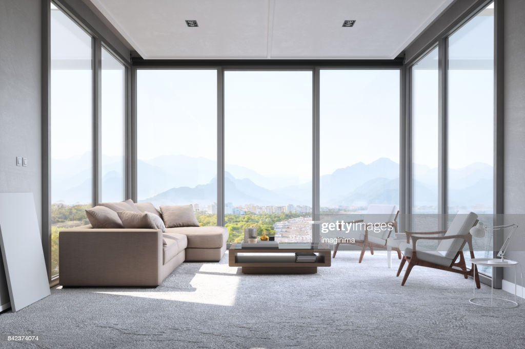 Modern Minimalist Living Room With Panoramic Ocean View : Stock Photo
