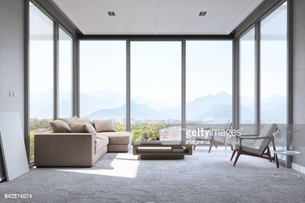 modern minimalist living room with panoramic ocean view - indoors stock pictures, royalty-free photos & images