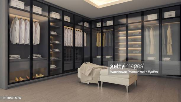 modern minimalist of dressing room interior ,walk - in closet with dark room - bedroom stock pictures, royalty-free photos & images