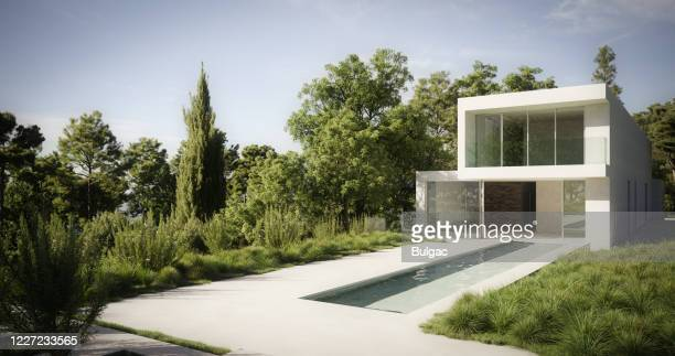 modern minimalist villa - man made space stock pictures, royalty-free photos & images