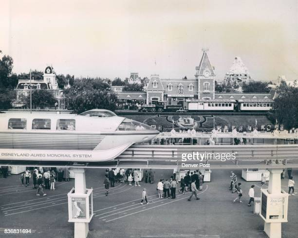 Modern Monorail Train Stops At main Entrance to Disneyland A full day of fun at Disneyland is on the schedule of Denver post newspaperboys Credit...