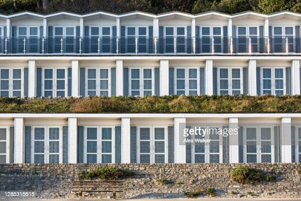 modern multi-story beach huts. - facade stock pictures, royalty-free photos & images