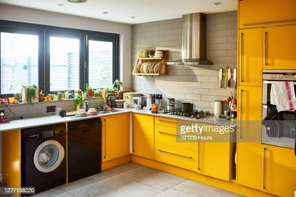modern mustard yellow domestic kitchen - yellow stock pictures, royalty-free photos & images