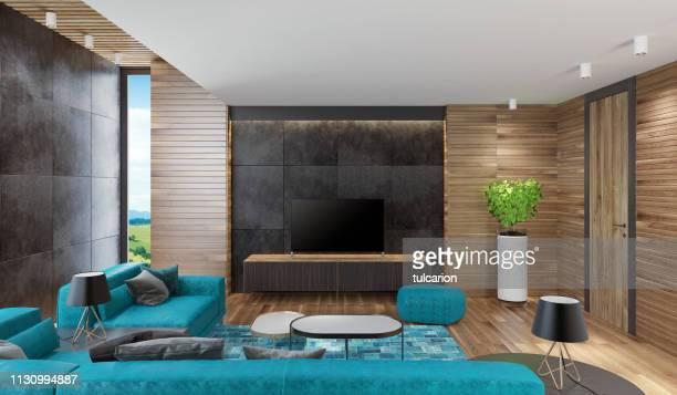 モダンなノルディックハウスのリビングルーム (木製の壁付) - insight tv ストックフォトと画像
