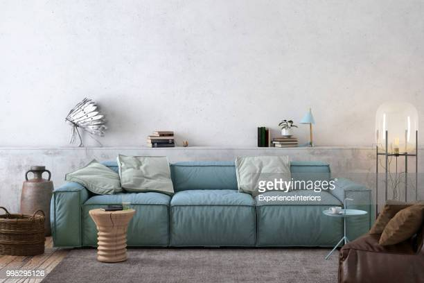 modern nordic living room interior with sofa and lots of details - carpet decor stock pictures, royalty-free photos & images