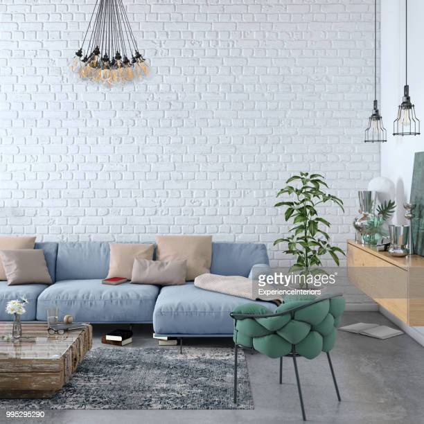 modern nordic living room interior with sofa and lots of details - scandinavia stock pictures, royalty-free photos & images
