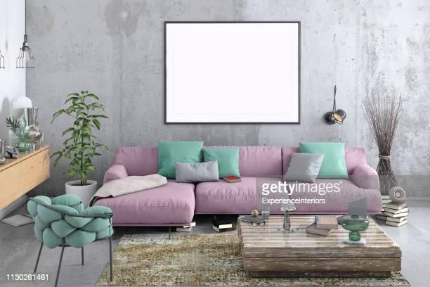 estilo nórdico moderno salón con plantilla de marco de imagen - rosa color fotografías e imágenes de stock