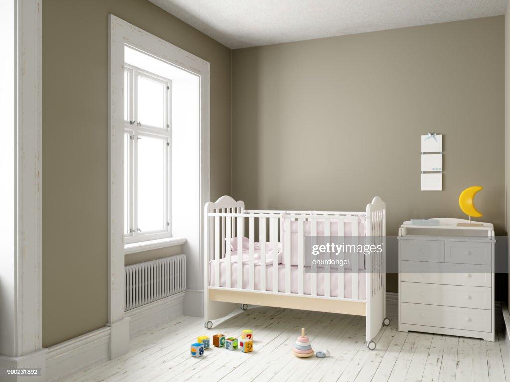 Modern nursery room with blank frame : Stock Photo