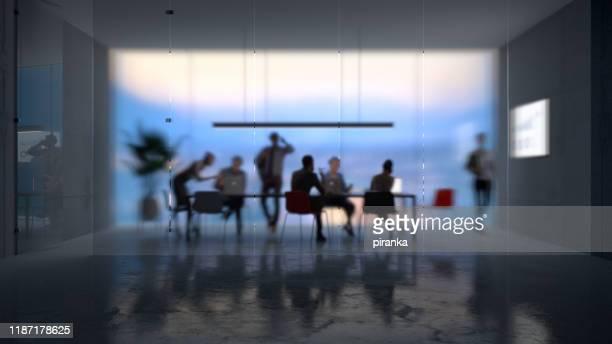 moderne kantoor achtergrond - vergaderruimte stockfoto's en -beelden