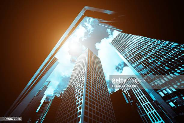 modern office building close up in sunlight - asia stock pictures, royalty-free photos & images