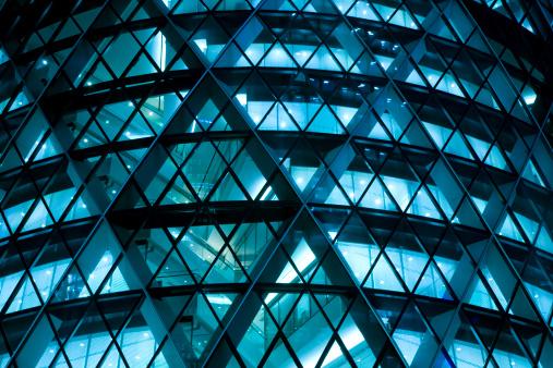 Modern Office Building Illuminated at Night 161829236