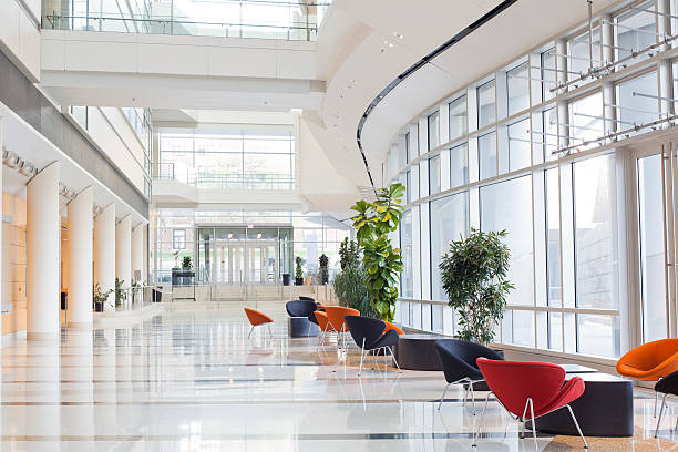 modern office building- lobby - indoors stock pictures, royalty-free photos & images