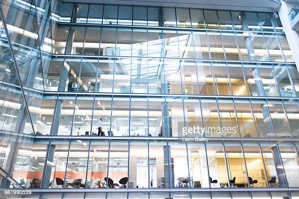 Modern office building with interior exposed