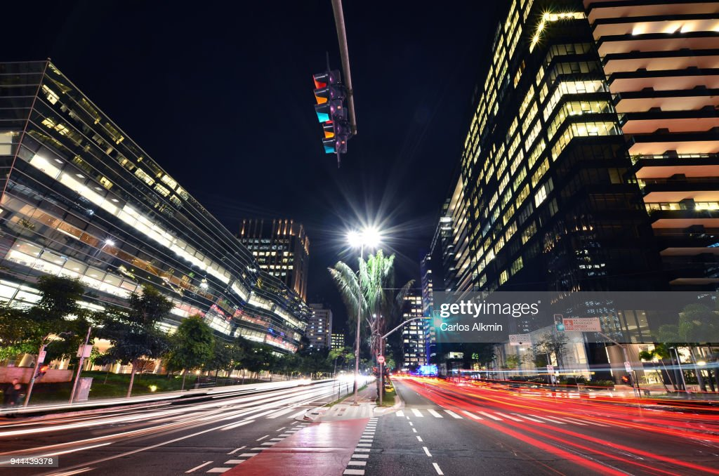 Modern office buildings at Faria Lima Avenue in Itaim Bibi, Sao Paulo's sophisticated business district : Stock Photo