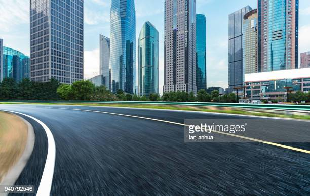 modern office buildings group by empty road,shanghai
