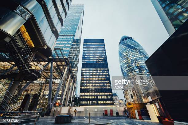 modern office buildings in london, uk - london financial district stock photos and pictures