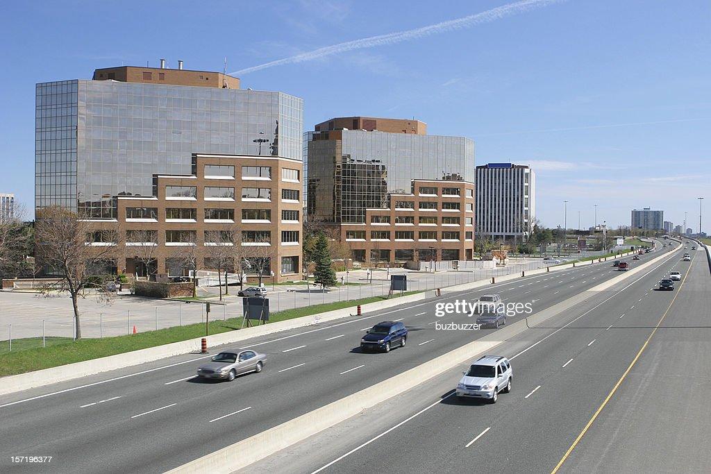 Modern Office Buildings on Toronto highway : Stock Photo