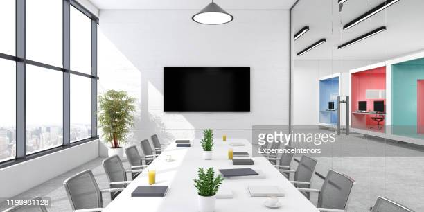 modern office conference room interior - board room stock pictures, royalty-free photos & images