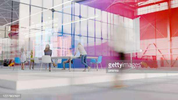 modern office in an industrial building - employee engagement stock pictures, royalty-free photos & images