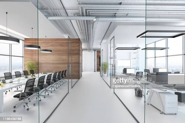 modern office interior - brightly lit stock pictures, royalty-free photos & images