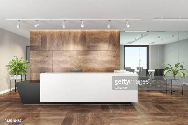modern office interior with big white desk - lobby stock pictures, royalty-free photos & images