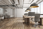 Modern office interior with city view