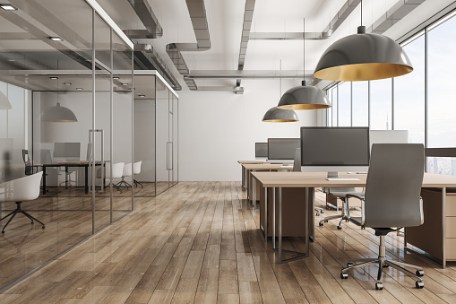 Modern office interior with city view 1138024382