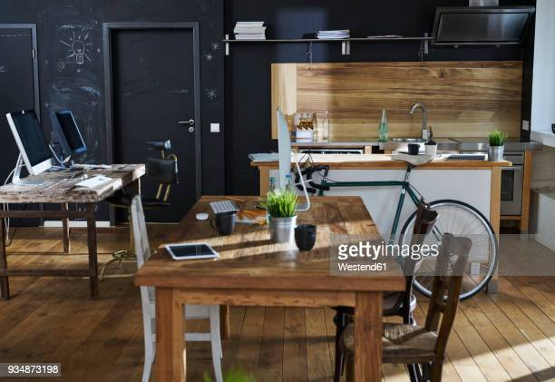 Modern office interior with kitchen