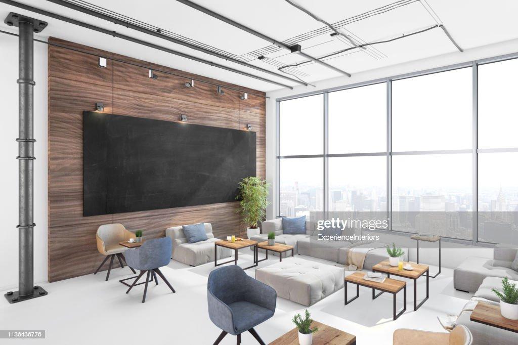 Modern Office Lobby Interior With Large Blank Blackboard ...