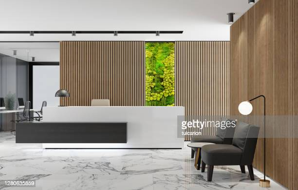 modern office lobby interior with long wooden planks background and reception desk with green eco plant moss wall - businesswear stock pictures, royalty-free photos & images