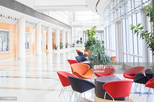 Modern office lobby with colorful seats