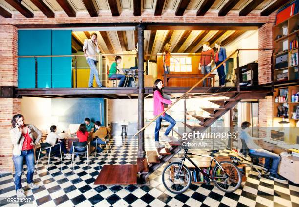 modern office - loft stock photos and pictures