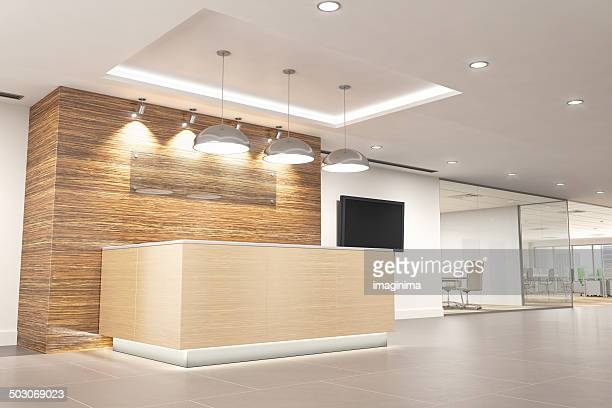 modern office reception - hotel lobby stock pictures, royalty-free photos & images