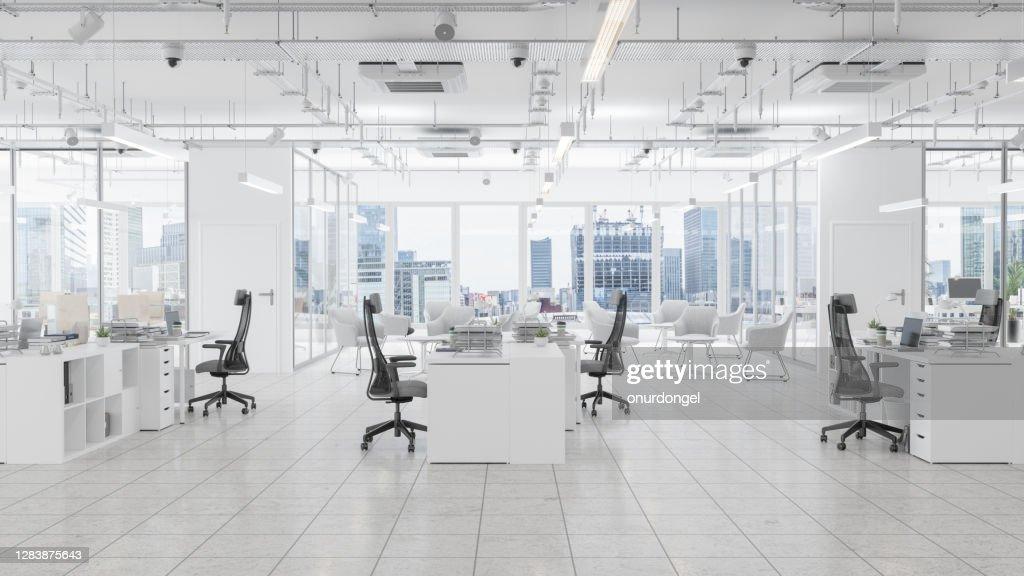 待合室、ボードルーム、街並みの背景を持つモダンなオフィススペース : ストックフォト