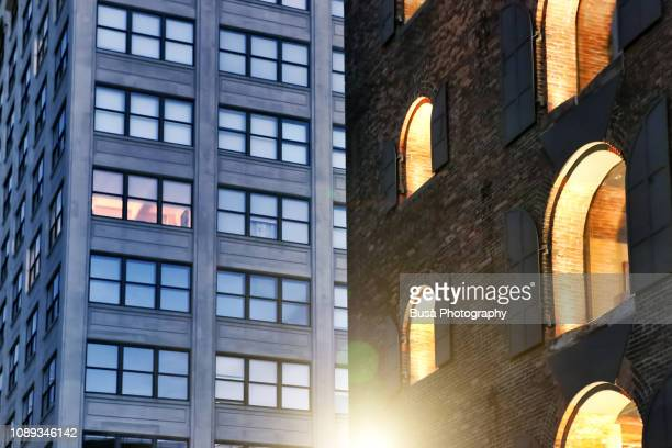 modern office tower and renovated industrial building in dumbo, brooklyn, new york city - brooklyn new york stock pictures, royalty-free photos & images
