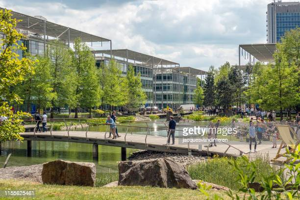 modern offices in a business park, situated around a pond - grounds stock pictures, royalty-free photos & images