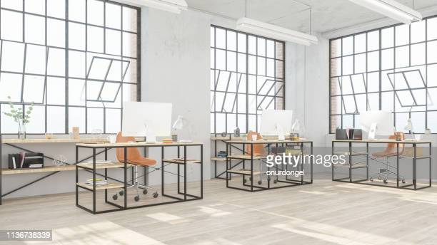 modern open office space - design studio stock pictures, royalty-free photos & images