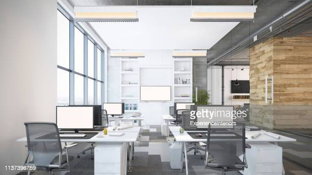 modern open plan office interior - open plan stock pictures, royalty-free photos & images