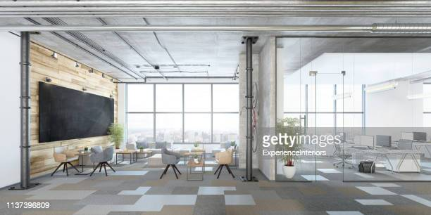modern open plan office interior - panoramic stock pictures, royalty-free photos & images