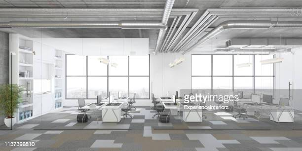 modern open plan office interior - wide angle stock pictures, royalty-free photos & images