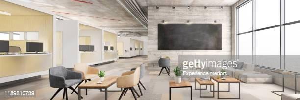 interior moderno de oficina de planta abierta - ancho fotografías e imágenes de stock