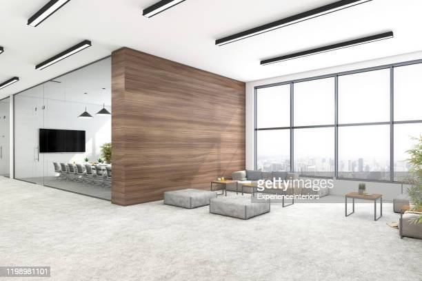 modern open plan office interior - lobby stock pictures, royalty-free photos & images
