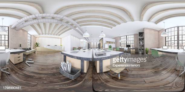 modern open plan office interior - equirectangular panorama stock pictures, royalty-free photos & images
