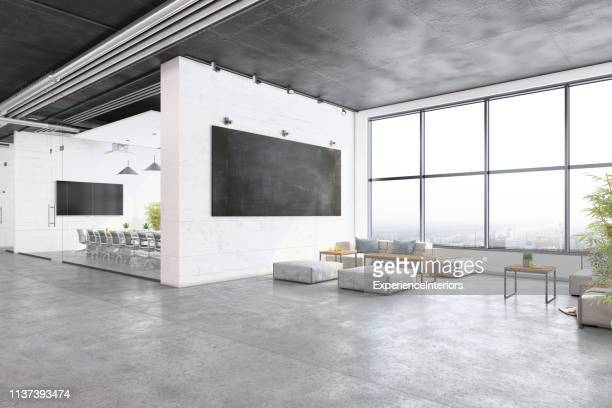 modern open plan office interior with waiting room - moderno foto e immagini stock