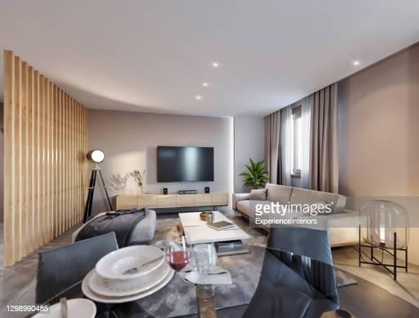 interior moderno do apartamento aberto - largo descrição geral - fotografias e filmes do acervo