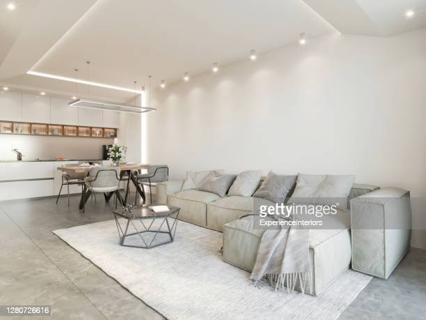 modern open space apartment - ceiling stock pictures, royalty-free photos & images