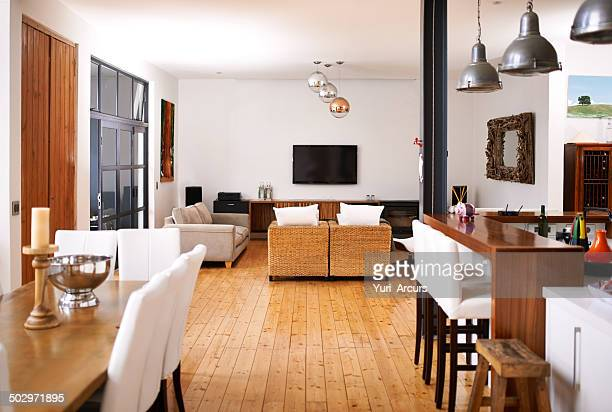 modern open-plan living - neat stock pictures, royalty-free photos & images