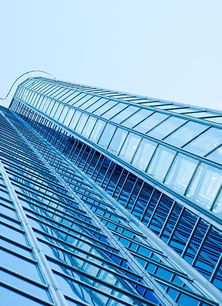modern oslo skyscraper reflecting in facade, wide angle view