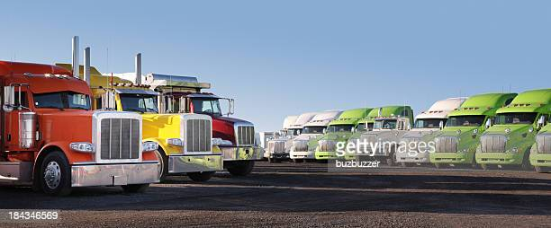 modern parked truck fleet - vehicle grille stock pictures, royalty-free photos & images